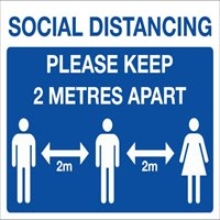 Social Distancing - Please keep 2 metres apart with icons sign