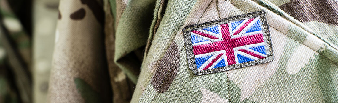 union jack flag on army jacket